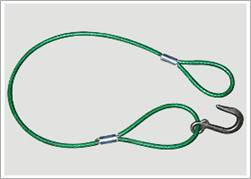 Wire rope sling covered by plastic